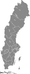 Sweden map vector outline with scales of miles and kilometers in gray background