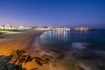 Bondi Beach at night.