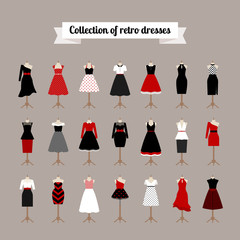 Retro woman dresses. Vector pinup dresses with polka dots pattern