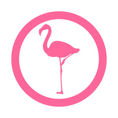 Icono plano flamingo en circulo color rosa