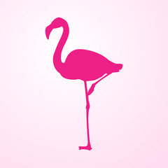 Icono plano flamingo en fondo degradado rosa