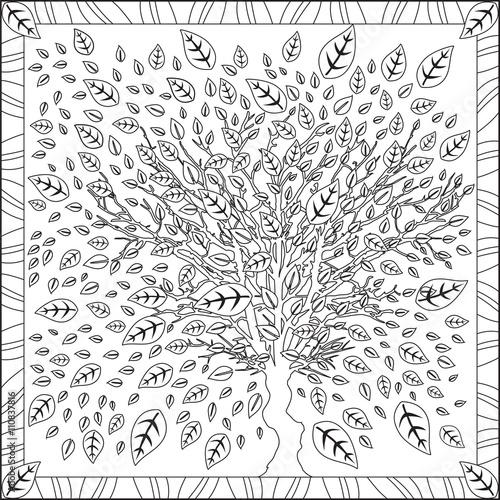 page coloriage pour adultes livre design motif arbre. Black Bedroom Furniture Sets. Home Design Ideas