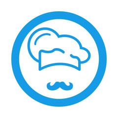 Icono plano gorro de cocinero y bigote en circulo color azul