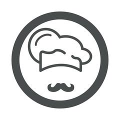 Icono plano gorro de cocinero y bigote en circulo color gris