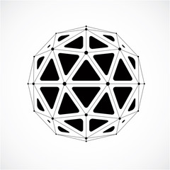 3d vector low poly spherical object with black connected lines