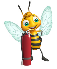 fun Bee cartoon character  with fire extinguisher