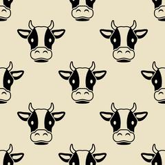 Icono plano patrón con cabeza de vaca sobre fondo beige