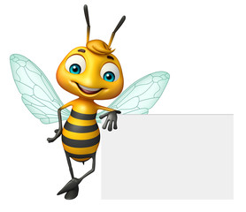 cute Bee cartoon character with white board