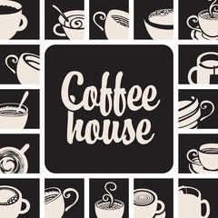 banner for coffee house with picture cups on a black background