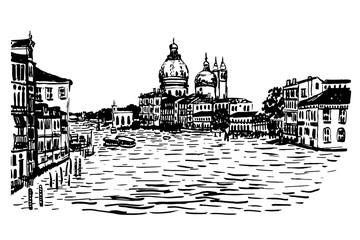 drawing background cityscape view of the Basilica di Santa Maria della Salute, the lagoon, the ships and the city around, hand-drawn sketch graphic black vector illustration