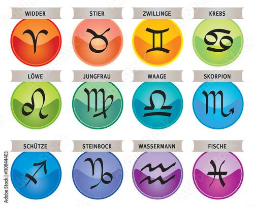 signes du zodiaque 12 ic nes d 39 astrologie avec leurs noms en allemand fichier vectoriel. Black Bedroom Furniture Sets. Home Design Ideas