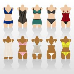 Lingerie icon set. Woman underwear on mannequins. Colorful vector illustration