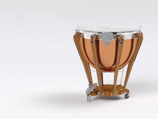 Timpani on white 3D rendering