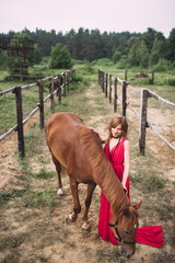 beautiful girl and horse understand each other