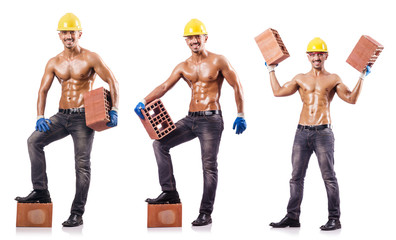 Composite photo of naked man with bricks