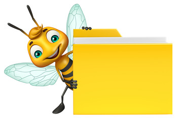 Bee cartoon character with folder
