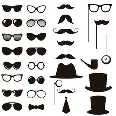 Black retro gentleman elements set