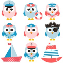 set of sailor owls and boats