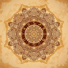 Ornate mandala and zodiac circle with horoscope signs on aged paper background. Vintage hand drawn vector illustration