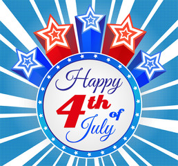 American Patriotic Background. Happy Independence Day background with stars and stripes. 4th of july retro poster. Patriotic banner.