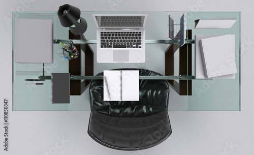 bureau vue de haut zdj stockowych i obraz w royalty. Black Bedroom Furniture Sets. Home Design Ideas