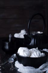 Delicious and plain white vanilla meringue cookies