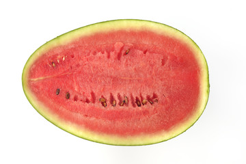 Cross Section of Red Water Melon / High resolution cross section of water melon shot directly above in studio