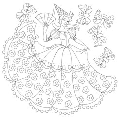 Black and white illustration of princess for coloring. Developing children skills for drawing. Vector image.