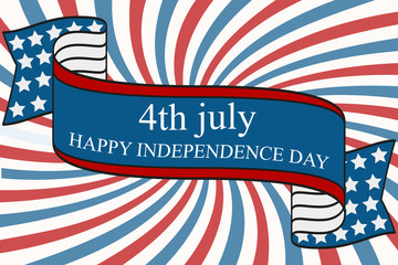 Happy Independence day design with ribbon, elements of American flag and sunburst stripes