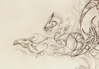 drawing of ornamental dragon on old paper background.