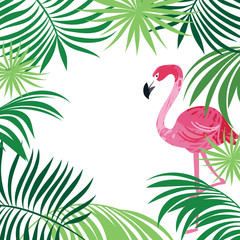 tropical leaves frame with flamingo