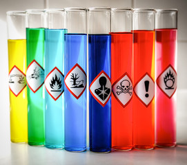 Aligned Chemical Danger pictograms - Serious Health Hazard