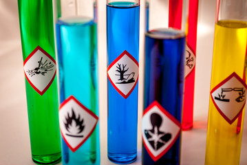 Multicolored Chemistry vials - Focus on hazardous to the environment danger