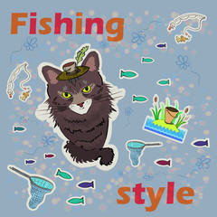 The fishing style. Cat fishing. Vector illustration