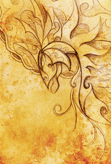 drawing of ornamental animal on old paper background  and sepia color structure.