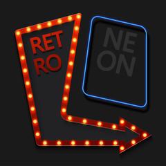 Vector retro arrow with light bulb on black