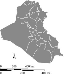 Iraq map vector outline with scales of miles and kilometers in gray background