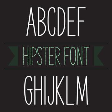 Modern minimal hipster font alphabet set A to M Bold