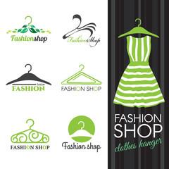Fashion shop logo - Green Clothes hanger vector set design