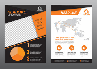 Layout flyer template size A4 cover page orange black tone Vector design