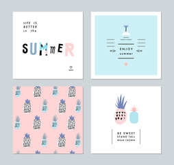 Set of creative trendy art posters about summer plus seamless pattern with pineapples