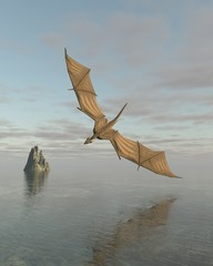Dragon Flying Low Over the Sea in Daylight - fantasy illustration