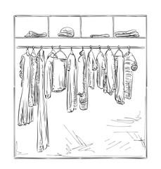 Hand drawn wardrobe. Clothes sketch.