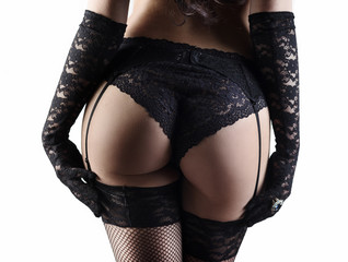 Woman in laced lingerie