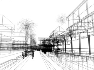 sketch design of urban ,3dwire frame render