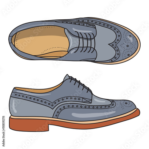 a8788b8c Vector hand drawing illustration with color men fashion shoes.Doodle  illustration