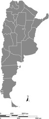 Argentina map vector outline with scales of miles and kilometers in gray background