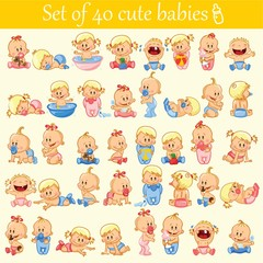 Vector illustration of baby boys and baby girls. Various poses.First year activities. Baby activities icons - baby in diaper, crawling, sitting, smiling, sleeping baby and others.