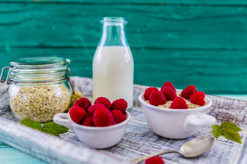 Porridge, Oatmeal with fresh fruit - healthy breakfast, healthy diet