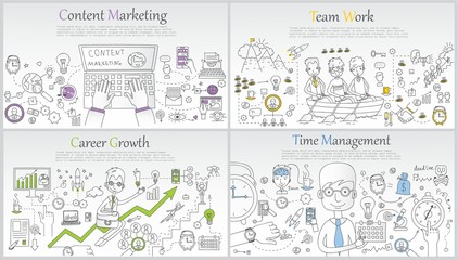 Doodle line design of web banner templates with outline icons of time management, career growth,big idea, finance planning, team work.Vector illustration concept for website or infographics.